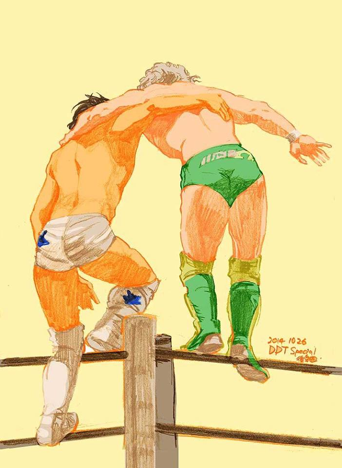 Ibushi et Omega avant leur tandem double-450° Splash